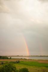 Double rainbow over a lake
