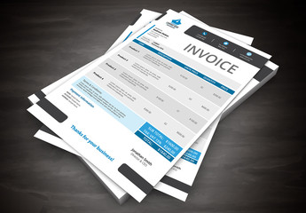 Blue and Gray Invoice Layout