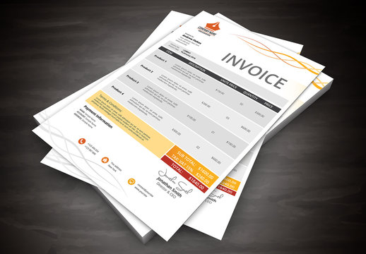 Orange Twist Accent Invoice Layout