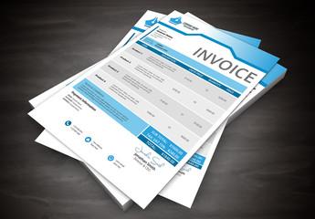 Blue Header Tab Element Invoice Layout