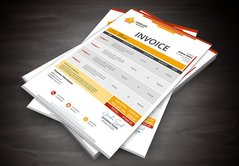 Orange Gradient Stacked Header Element Invoice Layout