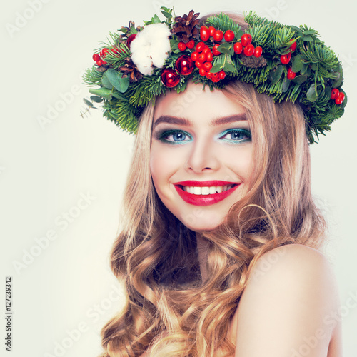 U0026quot;Christmas Beauty. Happy Model Woman With Blonde Permed Hairstyleu0026quot; Stock Photo And Royalty-free ...