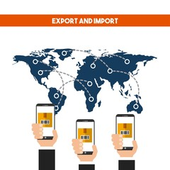 world map with human hand holding a smartphone device. export and import colorful design. vector illustration
