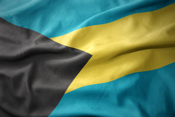 waving colorful national flag of bahamas.