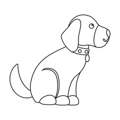 Sitting dog icon in outline style isolated on white background. Dog symbol stock vector illustration.