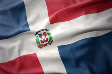 waving colorful flag of dominican republic.