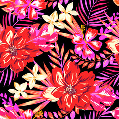 Pretty pink and red Hawaiian print - seamless background