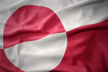 waving colorful flag of greenland.