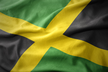 waving colorful flag of jamaica.