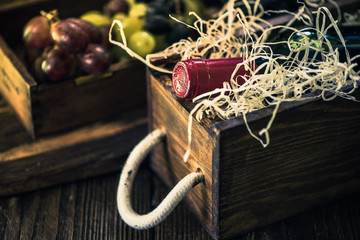 Red wine bottle in case, still life