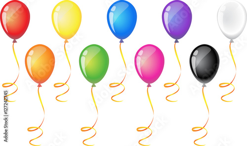 """Nine balloons with ribbon isolated on white background ..."
