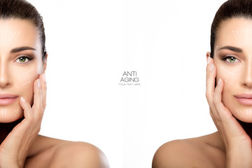 Surgery and Anti Aging Concept. Two Half Face Portraits