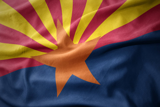 waving colorful flag of arizona state.