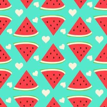 Cute watermelon seamless pattern with heart.