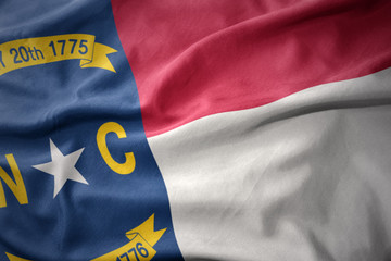 Photo sur Plexiglas Amérique du Sud waving colorful flag of north carolina state.