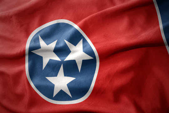 waving colorful flag of tennessee state.