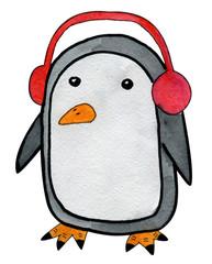 Beautiful hand drawn watercolor cartoon style penguin with headphone