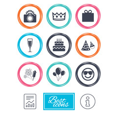 Party celebration, birthday icons. Fireworks, air balloon and champagne glass signs. Gift box, cake and photo camera symbols. Report document, information icons. Vector