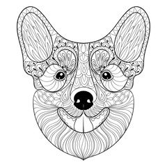Zentangle Dog face in monochrome doodle style. Hand drawn puppy,