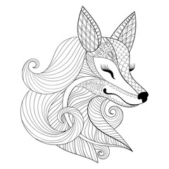 Zentangle Fox face in monochrome doodle style. Hand drawn Wild a