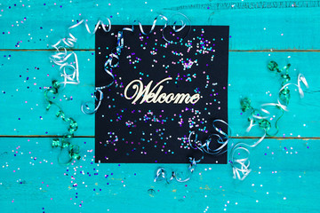 Welcome sign with party theme