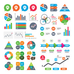 Business charts. Growth graph. Sale pointer tag icons. Discount special offer symbols. 10%, 20%, 30% and 40% percent off signs. Market report presentation. Vector
