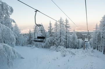 Ski chair lift. Abzakovo ski resort. South Urals, Russia.