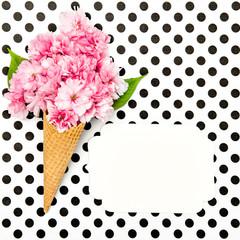 Cherry tree blossom ice cream waffle cone paper tag