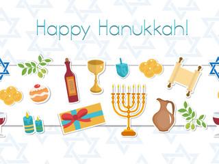 Happy Hanukkah seamless poster. greeting card, flyer, invitation.