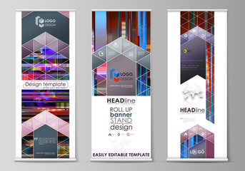 Roll up banner stands, flat design templates, abstract style, modern concept, corporate vertical vector flyers, flag layouts. Glitched background made of colorful pixel mosaic. Glitch backdrop.