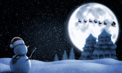 snowman and Santa Claus in the night sky with the moon and snowfall