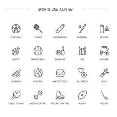 Sports flat icon set.