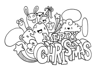 Hand drawing cartoon character,Merry christmas .Doodles vector i