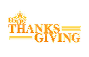 Happy thanksgiving color text sign illustration design graphic