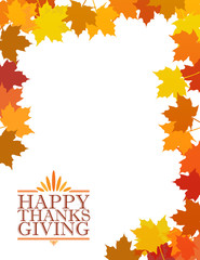 Happy thanksgiving sign illustration over leaves