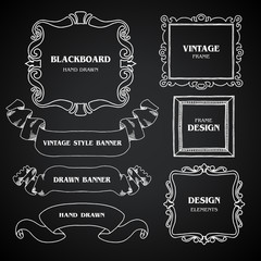 Vintage  chalkboard photo frames set, drawing doodle style