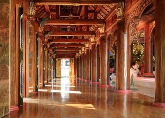 Wooden corridor in the temple