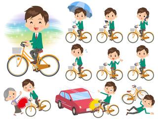 school boy Green Blazer ride on city bicycle
