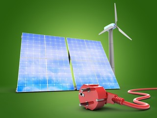 3d illustration of solar and wind energy over green background with power cord