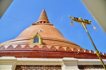 Exquisite Architecture of Phra Pathom Chedi, or the First Stupa, in Nakhon Pathom Province, Thailand