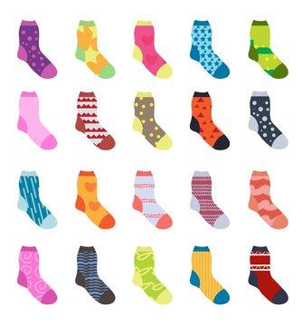 Socks set icons. Socks collection, flat design. Socks isolated on white background. Warm woolen socks with cute patterns. Winter socks. Vector illustration