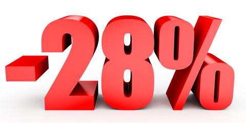 Discount 28 percent off. 3D illustration on white background.