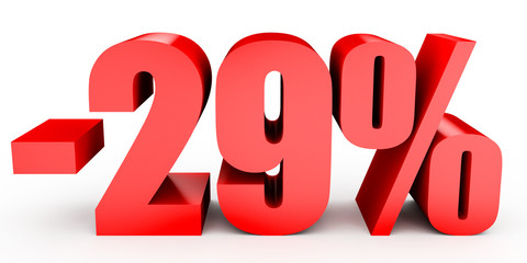 Discount 29 percent off. 3D illustration on white background.