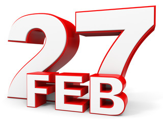 February 27. 3d text on white background.
