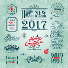 set of christmas and new year design elements