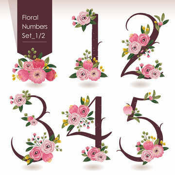 Vector illustration of floral numbers collection. A set of beautiful flowers and numbers for wedding invitations and birthday cards