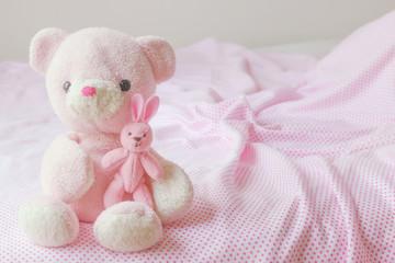 teddy bear and little rabbit