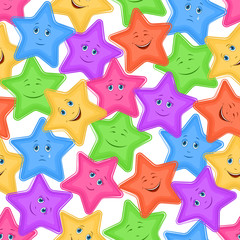 Seamless Pattern for Childish and Holiday Design, Colorful Cartoon Stars Smiley with Different Emotions on White Background. Vector