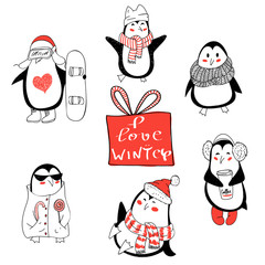 Set with cute hand drawn penguins  - Merry Christmas greetings.
