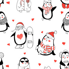 Seamless background with cute hand drawn penguins - Merry Christ